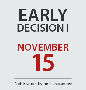 Early Decision 1 | November 15 | Notification by mid-December