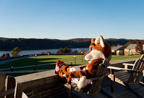 An image of Frankie the Marist mascot looking at the Hudson River