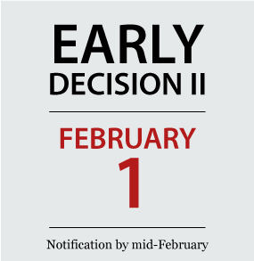 Early Decision 2 | February 1 | Notification by mid-February