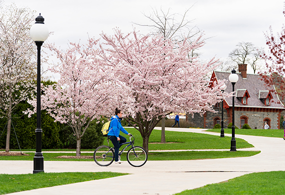 Student bike riding on campus