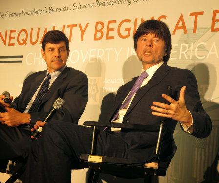 An image of Dr. David Woolner and Ken Burns