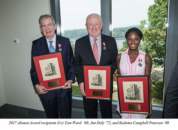An image of 2017 Alumni Award recipients Tom Ward '69, Jim Daly '72, and Kadeine Campbell Peterson '09