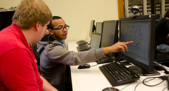 Photo of students at computers