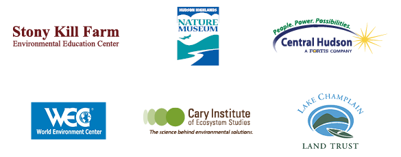 Logos of Environmental Science and Policy internship locations: Stonykill Environmental Education Center, Museum of the Hudson Highlands, Central Hudson, World Environment Center, Cary Institute of Ecosystem Studies, and Lake Champlain Land Trust.