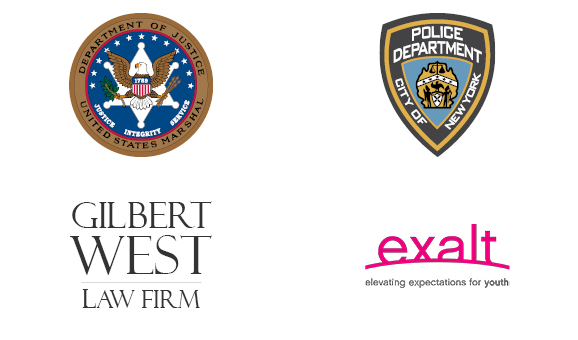 Logos of Criminal Justice Careers: US Marshals, NYDP, Gilbert West Law Firm, Exalt Youth