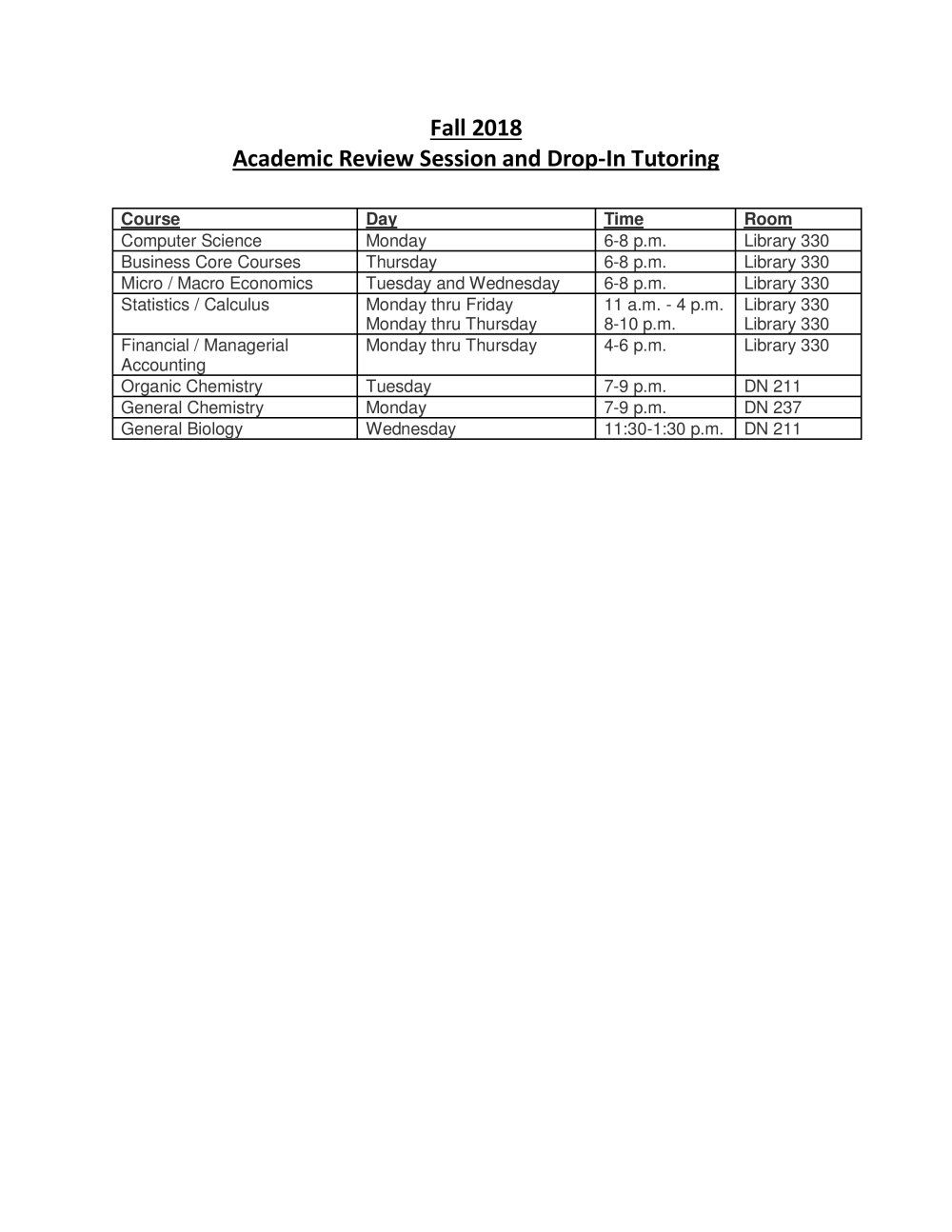 Review Sessions List Fall 2018 pdf - Search - Marist College