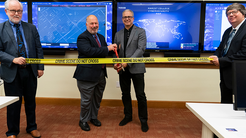 Ribbon cutting at opening of Security Operations Center