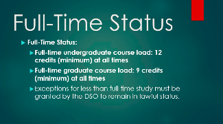 Photo of full-time status information for international students