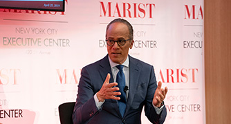 Photo of Lester Holt speaking at a Marist School of Management event