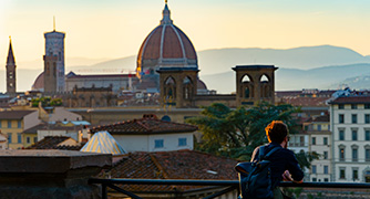 Student overlooking Florence